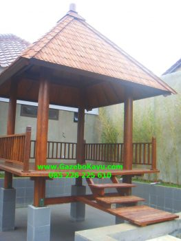 Gazebo Minimalis Kolam Renang Jakarta GM-10 kayu kelapa atap sirap